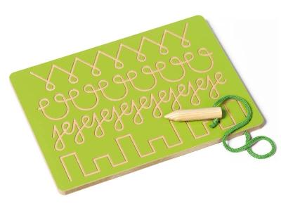 Bord schrijfmotoriek: vormen volgen (groen)