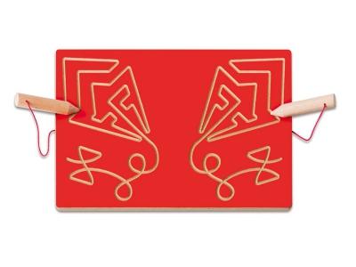 Bord schrijfmotoriek: vormen volgen vlieger (rood)