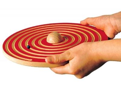 Hand labyrint spel hout (dubbelzijdig)